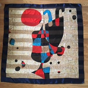 """Joan Miró Scarf: """"Figures and Dog in Front of Sun"""""""
